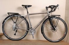 True North titanium touring bike with disc brakes and OMM racks. #bike #touring #adventure