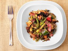 Grilled Asparagus, Zucchini, and Bread Salad with Olive-Caper Dressing Recipe