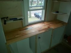 Salvaged Wood countertop -master closet.
