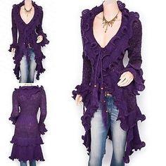 Retro Purple Curves Ruffles Collared Knit Cardigan Long Sweater Jacket