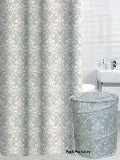 BEIGE GREEN WHITE DAMASK SHOWER CURTAIN POP LAUNDRY CLOTHES BIN BASKET HAMPER in Home, Furniture & DIY, Bath, Shower Curtains   eBay
