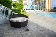 The Moon Day Bed features durable aluminum frame and attractive espresso finish. Outdoor Daybed, Outdoor Furniture, Outdoor Decor, Sunbrella Fabric, Weather Conditions, Espresso, Wicker, Beds, Resin