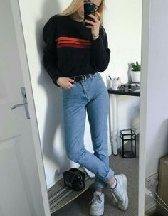 Imagen de fashion, jeans, and outfit casual grunge outfits, hipster girl ou Skater Outfits, Mode Outfits, Fall Outfits, Casual Outfits, School Outfits, Womens Fashion Outfits, Fashion Women, Teenage Outfits, Fashion Trends