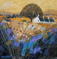 """""""Golden Glow near Glamis"""" by Deborah Phillips, Scottish Artist . Abstract Landscape, Landscape Paintings, Abstract Art, Illustrations, Illustration Art, Naive Art, Painting Inspiration, Collage Art, Painting & Drawing"""