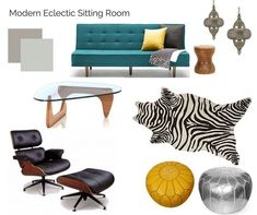 Room in a Box: Modern Eclectic Sitting Room - The Interior Design Advocate Modern eclectic sitting room decorating inspiration. The Interior Design Advocate Nursery Room Decor, Living Room Decor, Modern Interior, Interior Design, Interior Decorating, Decorating Ideas, White Room Decor, Eclectic Decor, Home Decor Trends