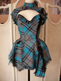 corset dress blue black tartan by ~AtelierSylpheCorsets on deviantART. I love the use of the frayed edge as part of the design