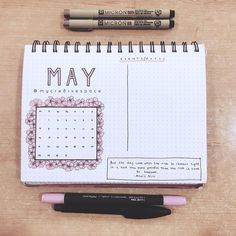 Bullet journal monthly cover page,  May cover page,  flower drawings.  | @mycr8ativespace