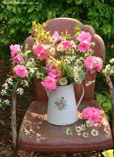 Just-Picked Garden Bouquet in vintage enamel pitcher | homeiswheretheboatis.net #garden #spring