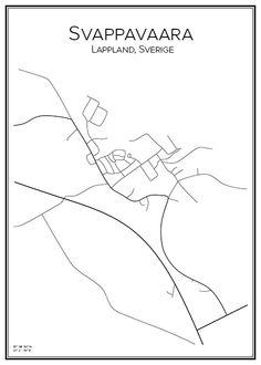 Svappavaara. Lappland. Sverige. Map. City print. Print. Affisch. Tavla. Tryck. Stadskarta.
