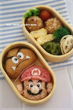 マリオ&クリボー*キャラ弁 - Super Mario bento This is first time to see! Kawaii Bento, Cute Bento Boxes, Bento Box Lunch, Food Art Bento, Japanese Food Art, Japanese Lunch, Cute Food, Yummy Food, Bento Recipes