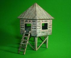 Simple Hut On Piles In 1/72 Scale - by Papermau  - Free Paper Model Download at Papermau!