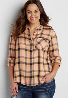 905ce69a1db plus size button down plaid shirt (original price