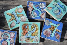 Beach Themed s/10 Extra large 5.5 x 5.5 Wedding Table Numbers
