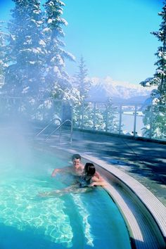 Banff Upper Hot Springs  Banff may be one of the most stunning settings on earth. Set amidst the spectacular alpine scenery is the Banff Upper Hot Springs. What could possibly sound more inviting than soaking in warm waters whilst surrounded by this incredible winter landscape? #CanadianRockies
