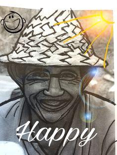 """Bij deze afbeelding heb ik geen filter gebruikt, wel heb ik een smiley toegevoegd, en het woord """"happy"""". Ook heb ik een soort zon gemaakt van een lens flits en een paar zonnestralen."""