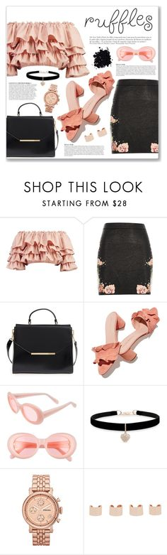 """""""Add Some Flair: Ruffled Tops"""" by myduza-and-koteczka ❤ liked on Polyvore featuring Boohoo, River Island, Ted Baker, Anja, Loeffler Randall, Acne Studios, Betsey Johnson, FOSSIL and Maison Margiela"""