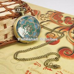 2016 New Fashion Vintage Elegant Ceramics Flowers Antique Pocket Fob Watch Necklace For Men and Women Gift - Online Shopping for Watches