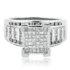 Rings-MidwestJewellery.com 1cttw Diamond Wedding Ring 3 in 1 Style Sterling Silver 10mm Wide Princess Cut Diamonds