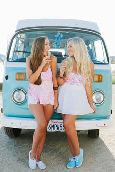 "Sisters Torrey and Summer from the pop duo ""Torrey Summer"" Tags: VW Bus, VW Van, Girls with VW Van, Girls with VW Bus"