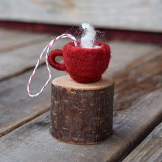 NEW for 2015! Cocoa with Marshmallows in a Red Mug - Cozy Felted Christmas Ornament by BossysFeltworks on Etsy https://www.etsy.com/listing/254078604/new-for-2015-cocoa-with-marshmallows-in
