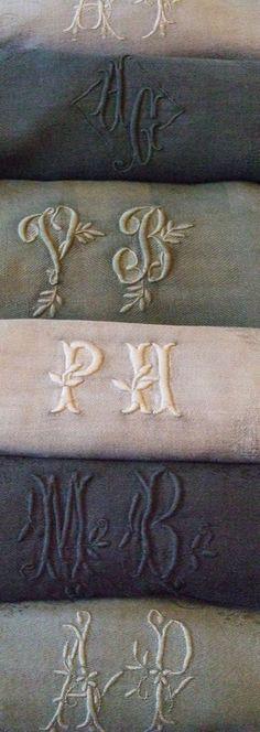 vintage monogrammed linens via baucis et philémon Shabby Vintage, Vintage Lace, Shabby Chic, Linens And Lace, Chenille, Annie Sloan Chalk Paint, Painted Furniture, Furniture Ideas, Machine Embroidery