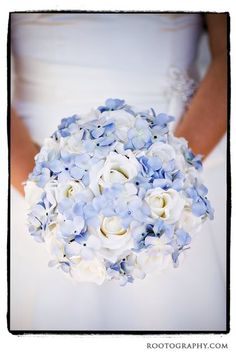 Fake flowers - bride's bouquet made of white and light blue silk flowers | Magical Day Weddings | A Wedding Atlas Fan Site for Disney Weddings
