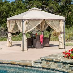 The Skyline gazebo adds a functional touch to any outdoor living space. The polyester covering offers the perfect shade solution while maintaining a clean feel.