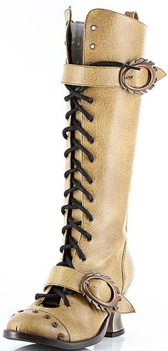 Vintage Lace-Up Knee Boots Gothic Horror Punk Steampunk shoes and boots hades metropolis