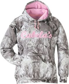 Cabela's: Cabela's Women's Anytime Anywhere Hoodie I got 2 pink camo sweaters and 2 green camo sweaters now I need a white one like this!!!  and eventually blue too