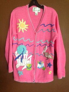 The Quacker Factory Women's Pink Beach Pelican Summer Cardigan Sweater Size S
