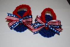 4th of July Red White and Blue Flag Crochet Baby Flip Flop Sandals/Baby Shower Gifts on Etsy, $13.00