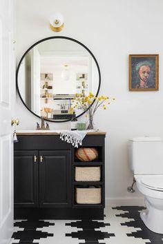 A Suburban Home Gets A Modern Bohemian Makeover. Bathroom BlackBathroom  Mirror DesignBathroom ...
