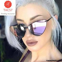 f538d655cc Ladies Sun Glasses. Trending Women Cat Eye Sunglasses Fashion Metal Frame  Men Purple Mirror Coating Reflective Lens Shades ...