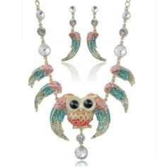 """Ever Faith 18K GP Chunky Owl Bird Angel Wing Pink Blue Austrian Crystal Necklace Earring Set Ever Faith. $34.95. The necklace measures approx. 53CM (20.87""""). The earrings measures approx. 6.4CM (2.52"""") by 1.4CM (0.55""""). This pendant is a fantastic accessory to add a subtle touch of exquisiteness to a smart casual look.. Decorated with dazzling and stunning clear Swarovski crystals and CZ, and it is our high recommendation for wedding."""