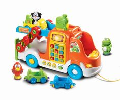 Vrrroom! Get baby's brain going and growing with the Pull & Learn Car Carrier by VTech! Your toddler will be fired up to find three vehicles and three fun characters that fit nicely in the suped up ca...