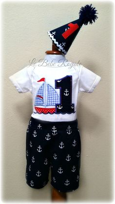 Cake Smash Outfit, Birthday Hat, Sailboat Birthday, 1ST Birthday Anchor, Sailboat Shirt, Nautical Birthday, Nautical Shirt Boys 12-18 Months
