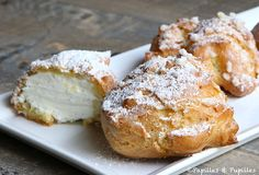 "Dunes blanches, ""White Sand Dune"", are choux bun filled with vanilla whipped cream that are very popular in the South of France Thermomix Desserts, Köstliche Desserts, Sweet Recipes, Cake Recipes, Dessert Recipes, French Recipes, Italian Recipes, Eclairs, Choux Buns"