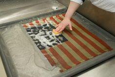 PIRC Textile Conservator Sarah Stevens working on a wool flag (2)