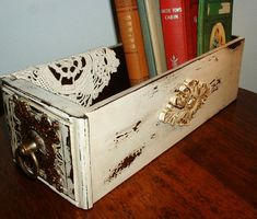 Vintage Wood Sewing Machine Drawer Repurposed by MostlyMadelines on Etsy  $24.00...beautiful...love the chippy look.