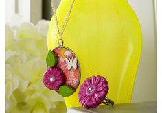 DIY Floral Mod Melts Necklace and Ring - so fun for summer!