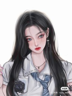 Dark Anime Girl, Manga Anime Girl, Cool Anime Girl, Beautiful Anime Girl, Cute Anime Guys, Kawaii Anime Girl, Cute Manga Girl, Pretty Anime Girl, Cartoon Girl Images