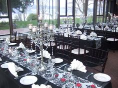Sparkle and damask highlight the Brockhouse Restaurant's stunning views!  Our gorgeous candelabras and damask taffeta embossed linens add lots of drama!