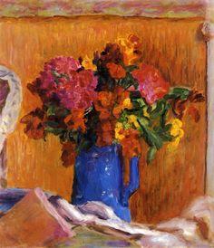 The Blue Pot~Pierre Bonnard   Lone Quixote   #PierreBonnard #bonnard #PostImpressionism #art #flowers #painting