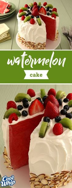 Made of sweet, refreshing watermelon and frosted with creamy COOL WHIP Whipped Topping, this fun fruit dessert is perfect for your next summer get-together! Bonus: this recipe can be made ahead of time for easy party prep! Kraft Foods, Kraft Recipes, Cake Recipes, Dessert Recipes, Köstliche Desserts, Summer Desserts, Delicious Desserts, Food Cakes, Cupcake Cakes