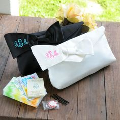 Personalized Bridesmaid Clutch with Survival Kit. Wow this is the cutest I'm getting this for my bridesmaids. - Click image to find more Weddings Pinterest pins