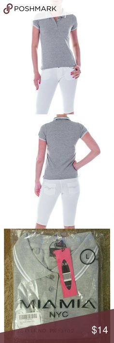 """Women or Junior Girl Polo Shirt, pk13102, Gray New, packaged Polo t-shirt in a lovely gray. Perfect tee for a young woman venturing out to a sports outing. 100% Cotton. Sz S: 30"""" around chest, 22"""" length, 18"""" neck circumference. Sz M: 32"""" around chest, 23"""" length, 19"""" neck circumference. Sz L: 34"""" around chest, 24"""" length, 20"""" neck circumference. Sz XL: 36"""" around chest, 25"""" length,  20"""" neck circumference. Mia Mia  Tops Tees - Short Sleeve"""