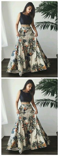 Two Piece Bateau Sweep Train Printed Satin Prom Dress With Beading Classy Prom Dresses, Pretty Dresses, Different Fabrics, Salwar Kameez, Kurti, Indian Outfits, Anarkali, Evening Dresses, Bollywood