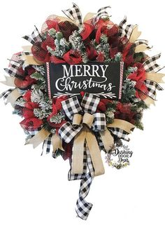 2018 August Wreath Creations from the Trendy Tree Custom Designer List Sharing a Christmas wreath created by Dashing Door Decor. It's available on their website for purchase! 2018 August Wreath Creations from the Trendy Tree Custom Designer List – Trendy Country Christmas, Winter Christmas, Christmas Time, Plaid Christmas, Buffalo Check Christmas Decor, Christmas Swags, Christmas Ribbon, Trendy Tree, Holiday Wreaths