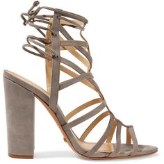 Schutz - Loriana Cutout Suede Wedge Sandals ($110) ❤ liked on Polyvore featuring shoes, sandals, grey, suede wedge sandals, wedge heel sandals, lace up high heel sandals, lace up wedge sandals and evening sandals