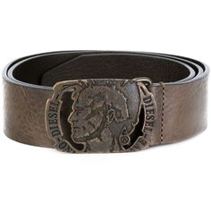 Diesel 'Head' buckle belt ($83) ❤ liked on Polyvore featuring men's fashion, men's accessories, men's belts, brown, mens brown leather belt, diesel mens belt, mens leather accessories, mens genuine leather belts and mens brown belt